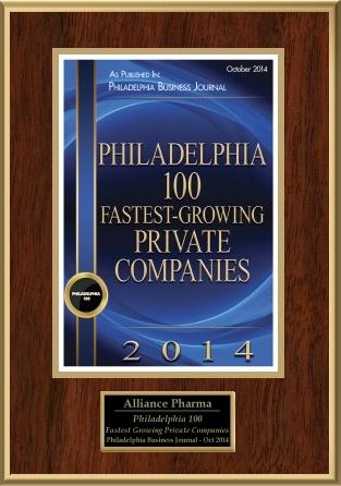 Alliance Pharma Philadelphia 100 fastest growing private companies
